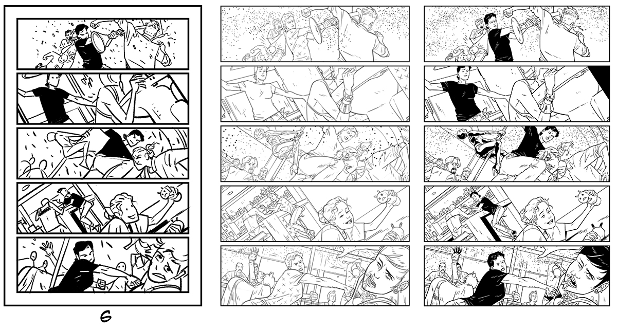 Daniel Hillyard's full process from layout to inks for THE RIDE: BURNING DESIRE, page 6