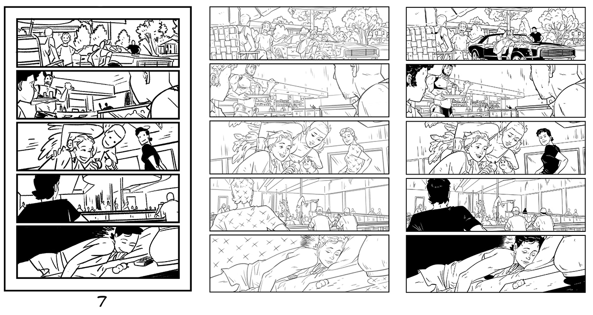 Daniel Hillyard's full process from layout to inks for THE RIDE: BURNING DESIRE, page 7
