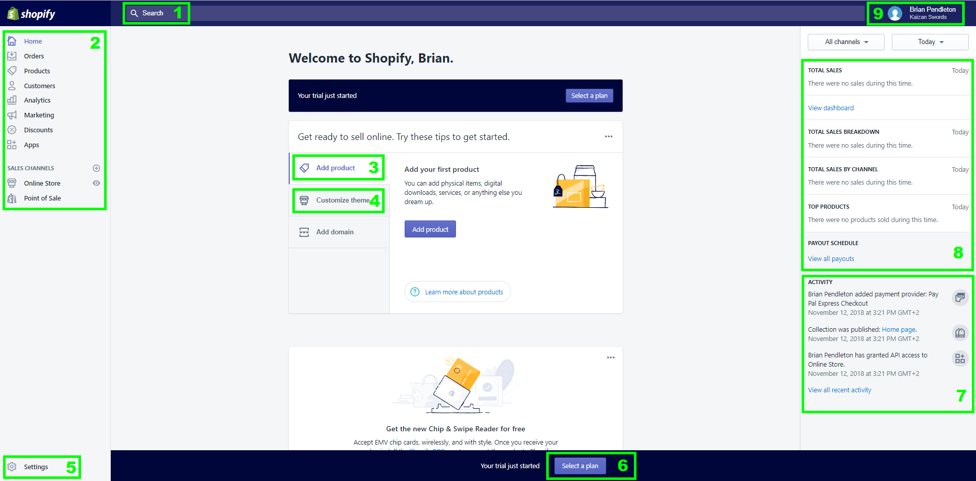 Here are the most important parts of your Shopify homepage. See below for a breakdown of what each piece does.