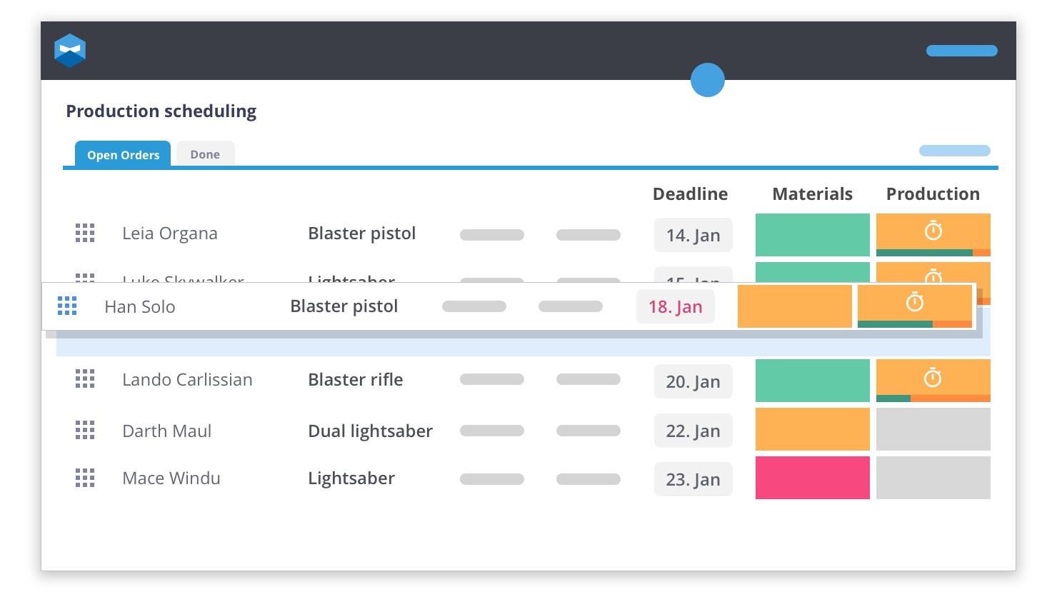 One of Katana's awesome features is the ability to keep track of your production scheduling.