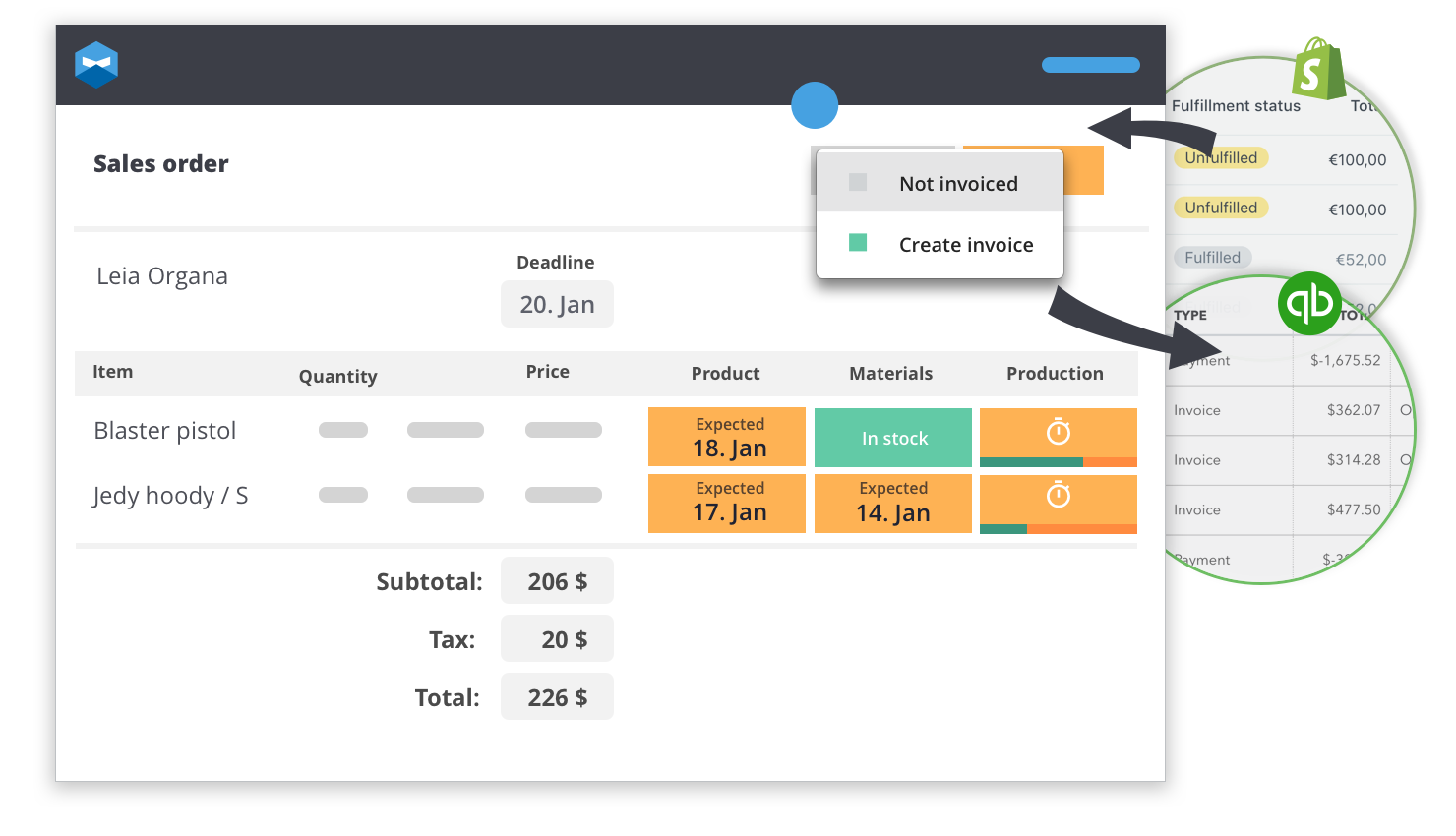 """Click """"Create invoice"""" in your Katana sales view and the invoice is automatically sent to your QuickBooks account. Once it's been done you'll see a pretty little icon to show the sync is complete. Simple as that."""