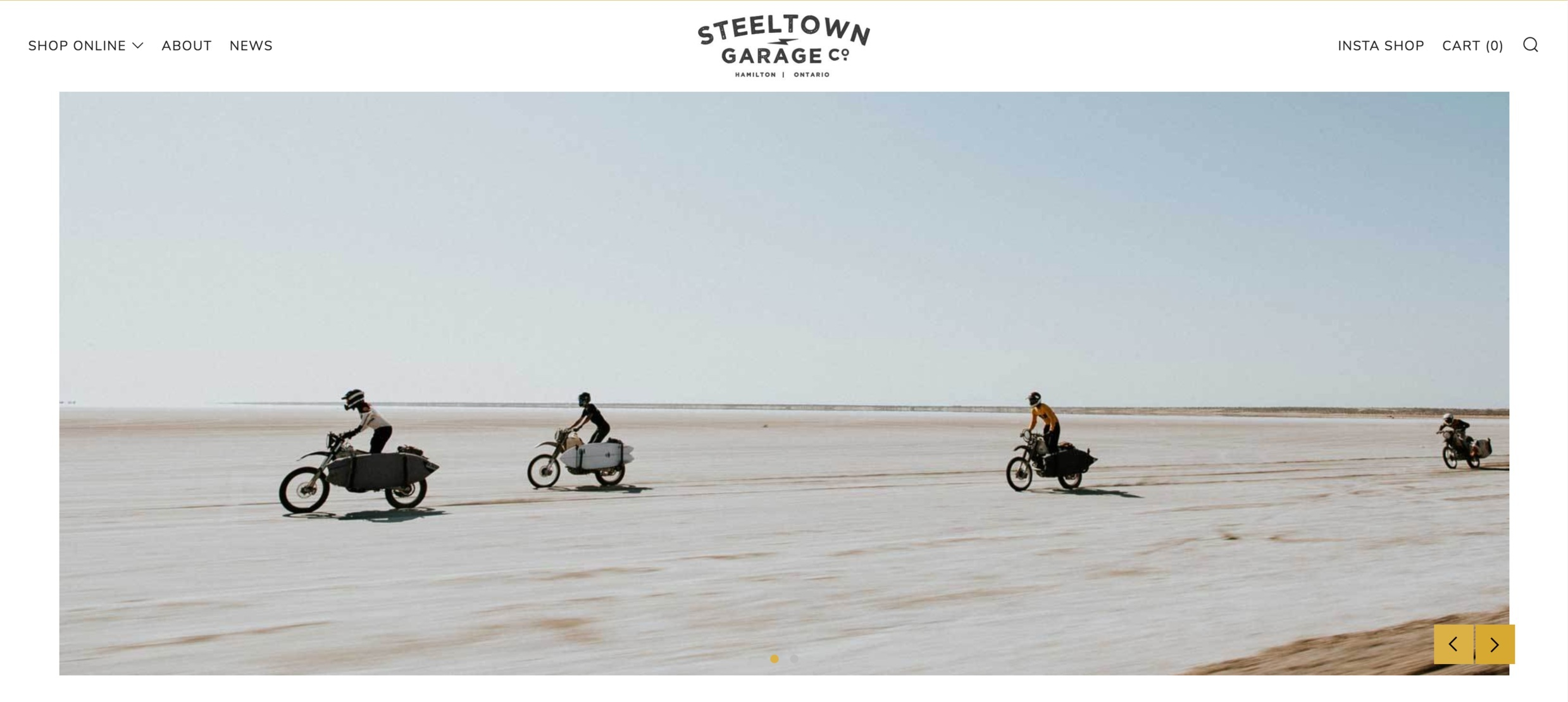 "The Shopify slideshow images used by ""Steeltown Garage Co"" guys are simply stunning. Super stylish and show off the brand right off the bat. You don't need to think long and hard to read any messages here, just breathe that sleek air."