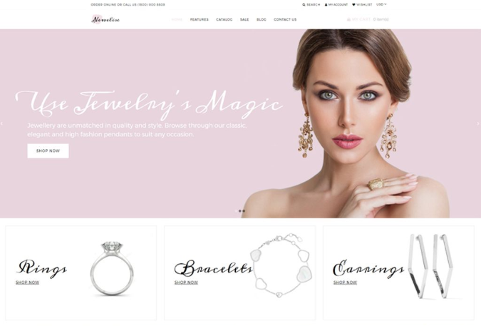 Newelise is a top example for high conversion jewelry shopify themes.
