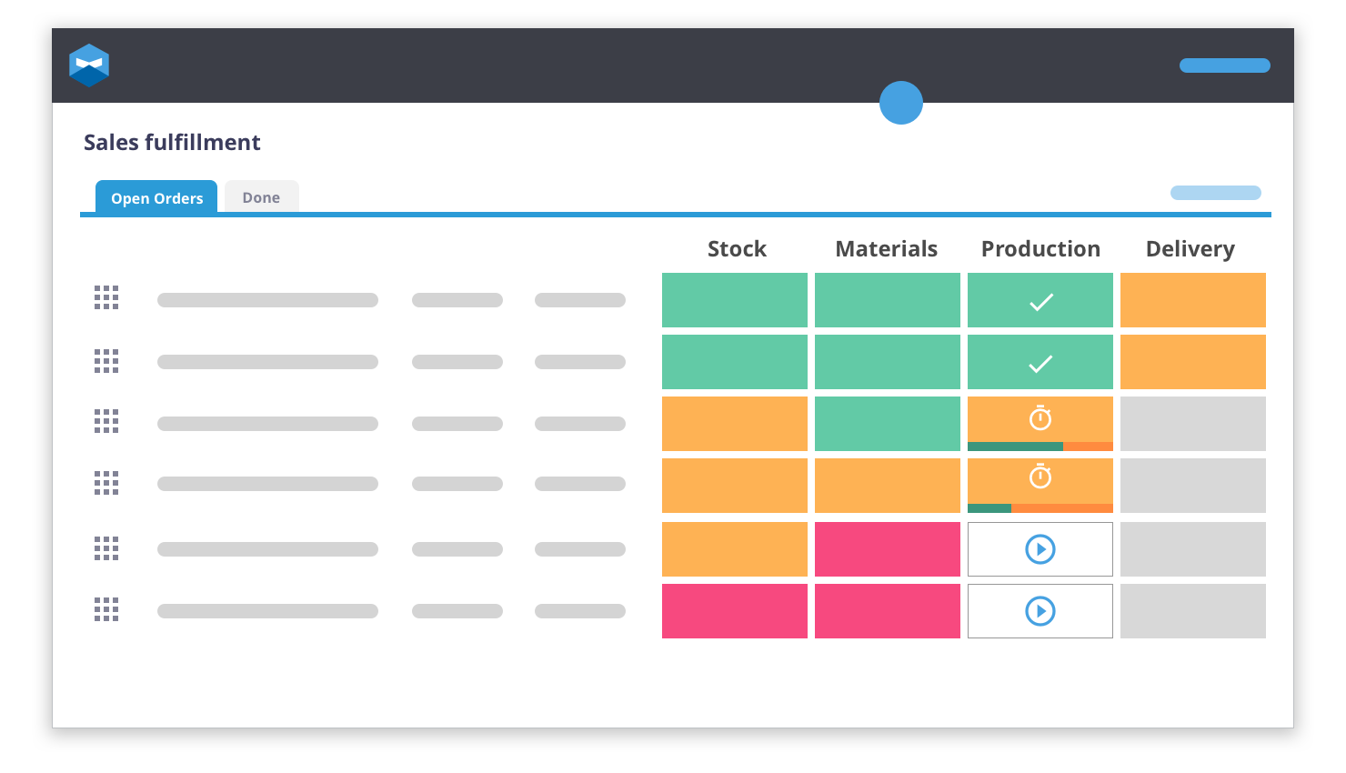 Katana allows you to view your product bundle creating process from start to finish. Set up the recipe and then once the orders are rolling in you will immediately know how production is coming along with a color-coded chart.
