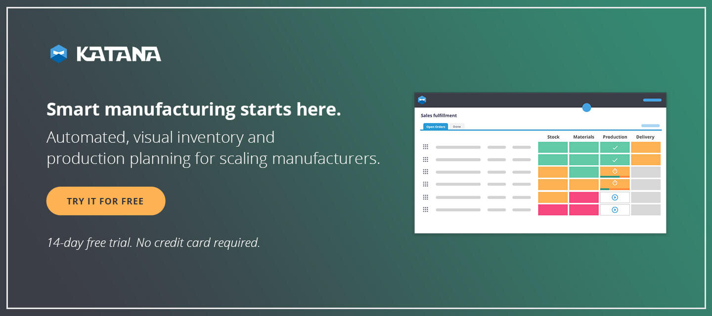 Katana Smart Manufacturing Software will allow your bill of materials to be incorporated into all of your processes in seamless fashion. Inventory, operations and sales can all take advantage from your detailed product recipes.