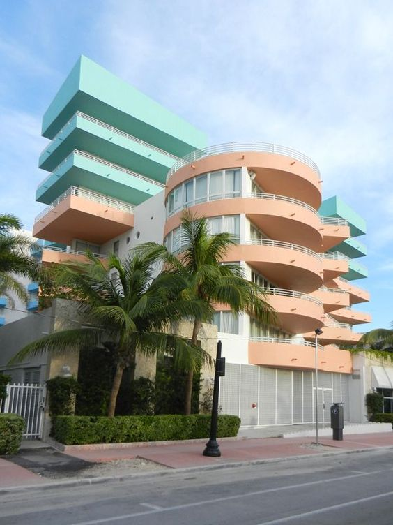 An Art=Deco building re-painted with pastel hues in the 80s.