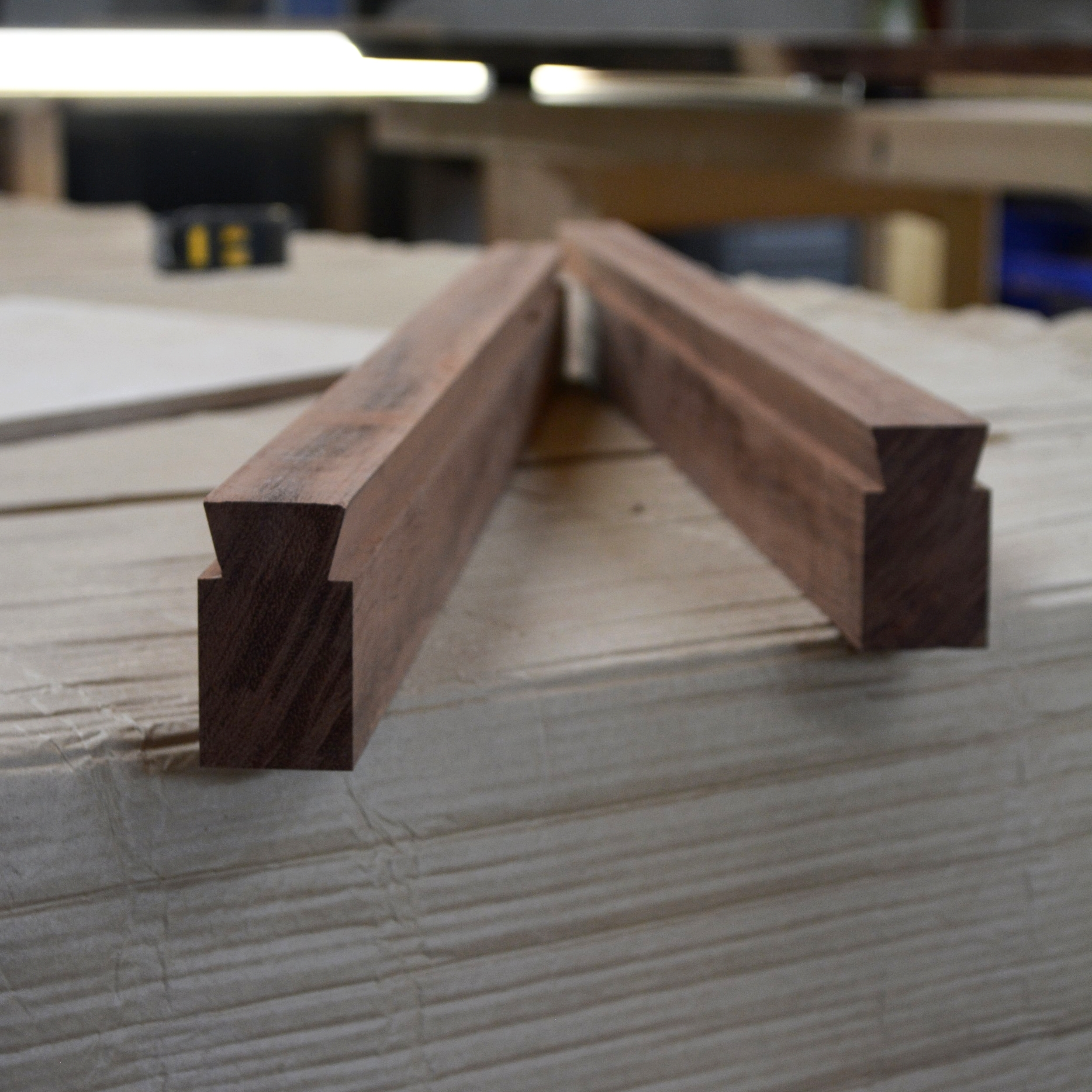 - While we take on all forms of commissions, we specialise in live edge pieces using large wood slabsWhen producing these large pieces, we use a traditional Japanese technique to stabilise the wood to prevent it from twisting and warping- allowing it to shrink and expand with seasonal changes whilst ensuring the longevity of finished piece[ pictured - sliding dovetail rail used to control seasonal movement of wood slabs ]