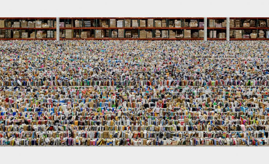 Amazon warehouse image went viral when the exhibition opened in Januray.  © Andreas Gursky, VG Bild-Kunst, Bonn 2016. Courtesy of Sprüth Magers