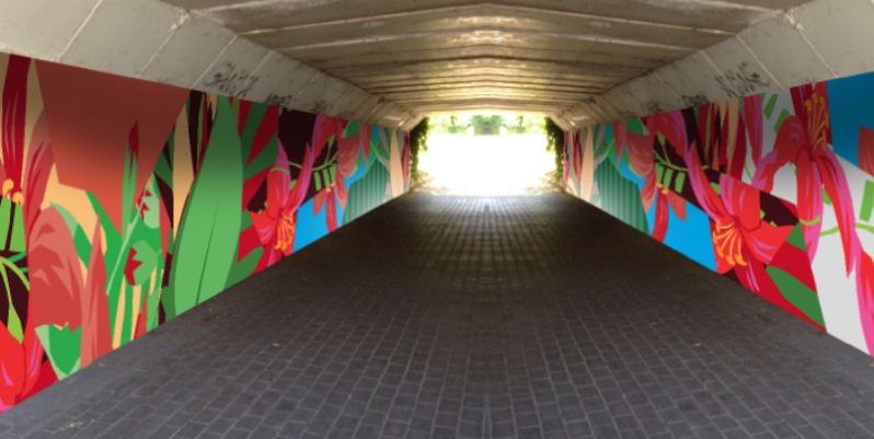 Subway with Murals created during the ikea loves earth project using airlite products