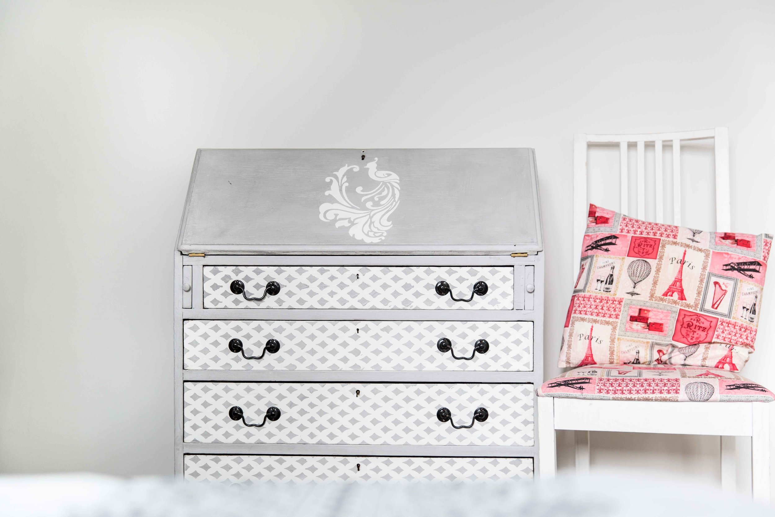 1950's bureau I rescued from landfill and lovingly restored takes pride of place in a little girls room - Design by Blue Feather Design Studio