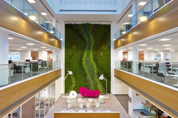image via biotecture - interior living wall installation at centrica