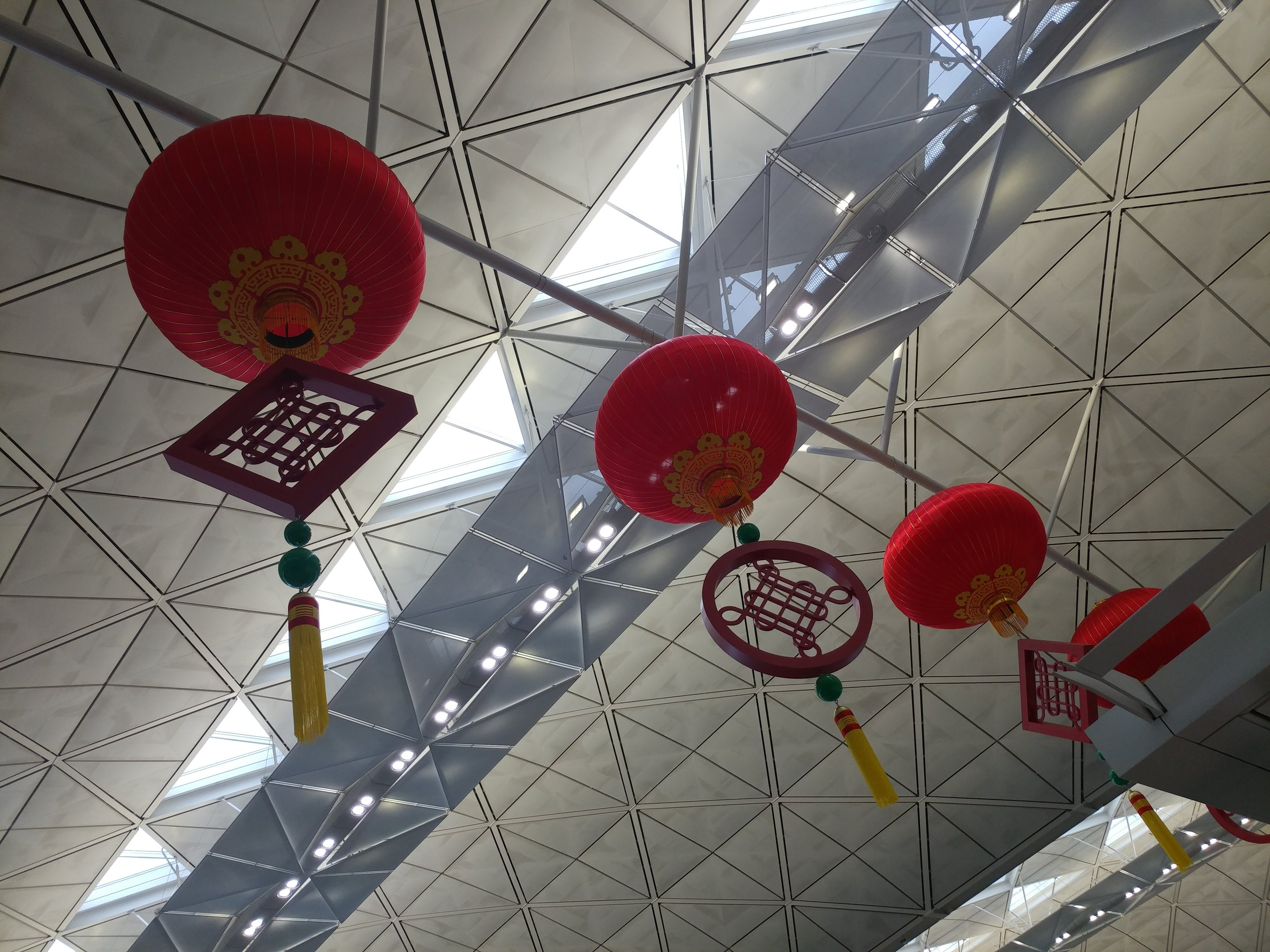 - Chinese lanterns in preparation for Lunar New year festivities at Changi Airport