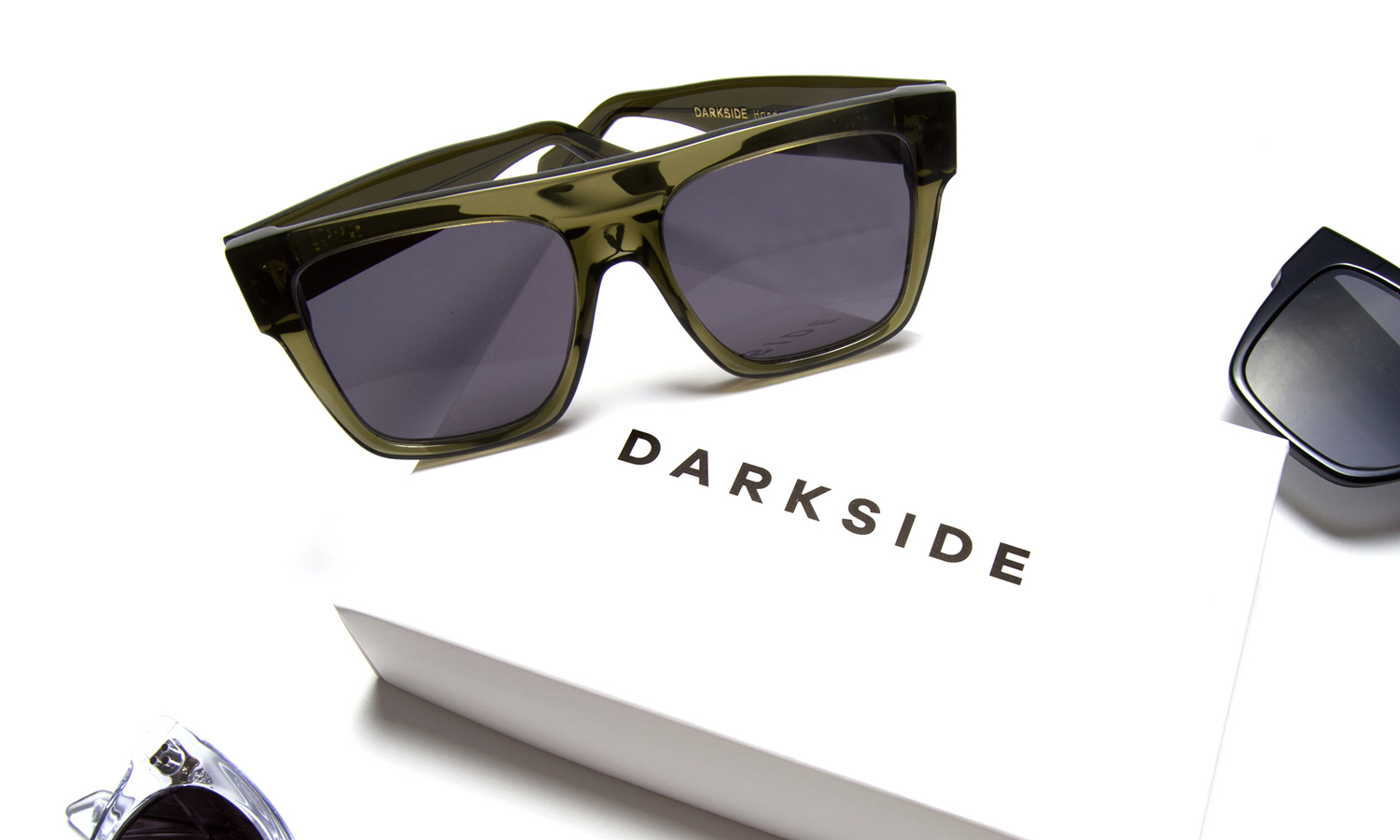 Darkside Proteus Green Sunglasses and box