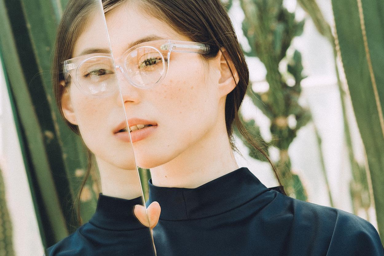 Darkside Eyewear Rhea Clear sunglasses in the garden