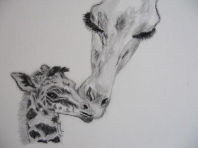 Giraffe and Baby Notecards