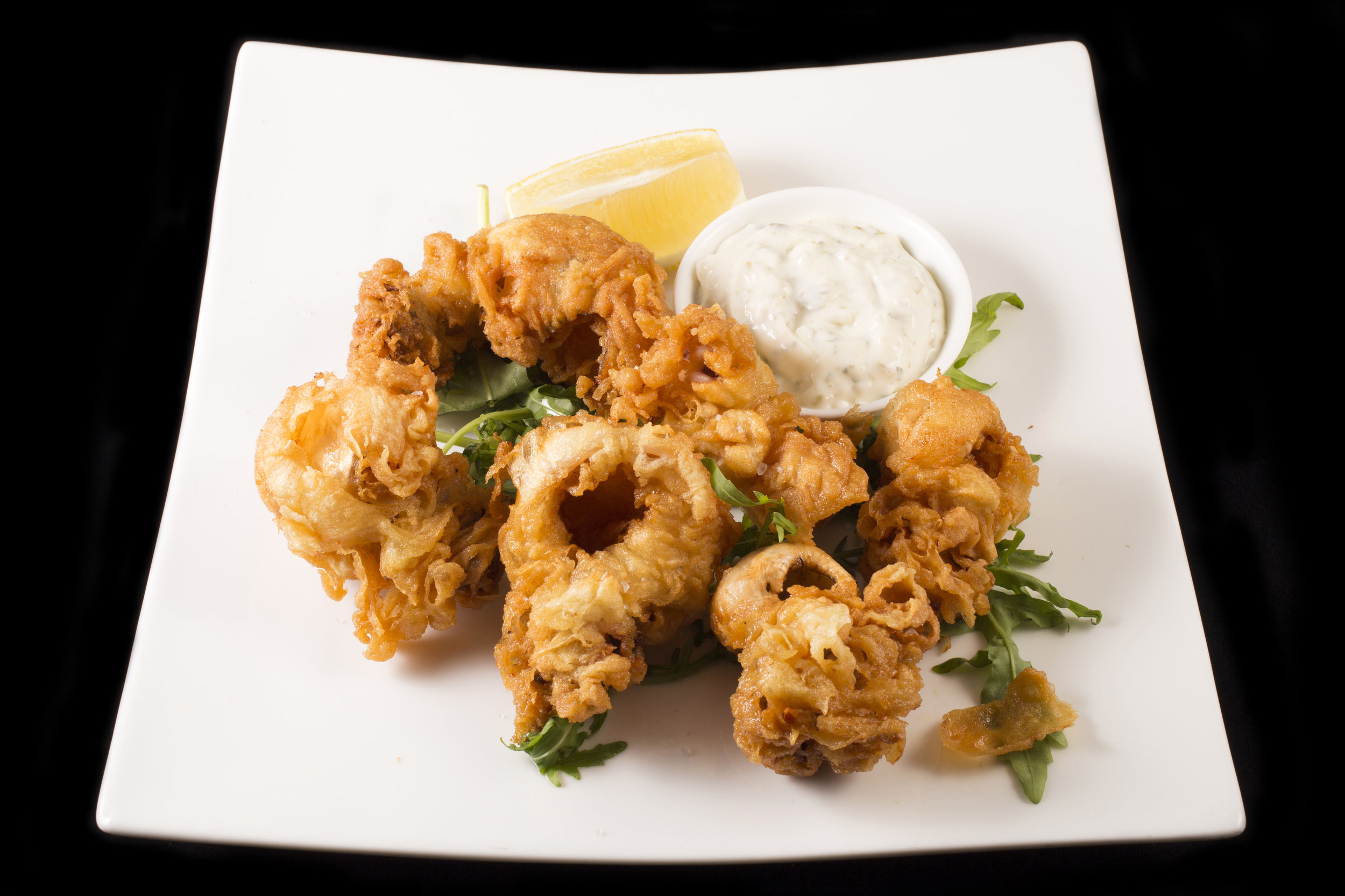 Fried Cuttlefish with Tartar Sauce. 炸魷魚配他他汁.