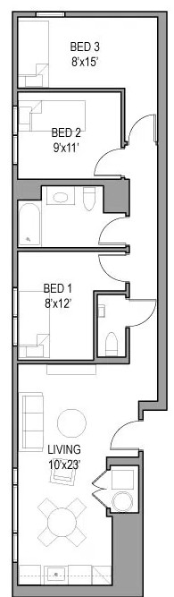 Model: 16  This unique unit has three bedroom and two bathrooms: $880 per bedroom per month!