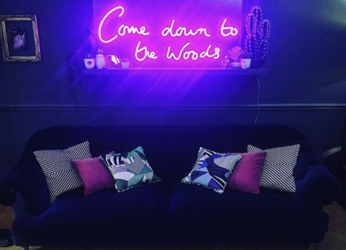 Custom neon for blogger Katie Woods @comedowntothewoods