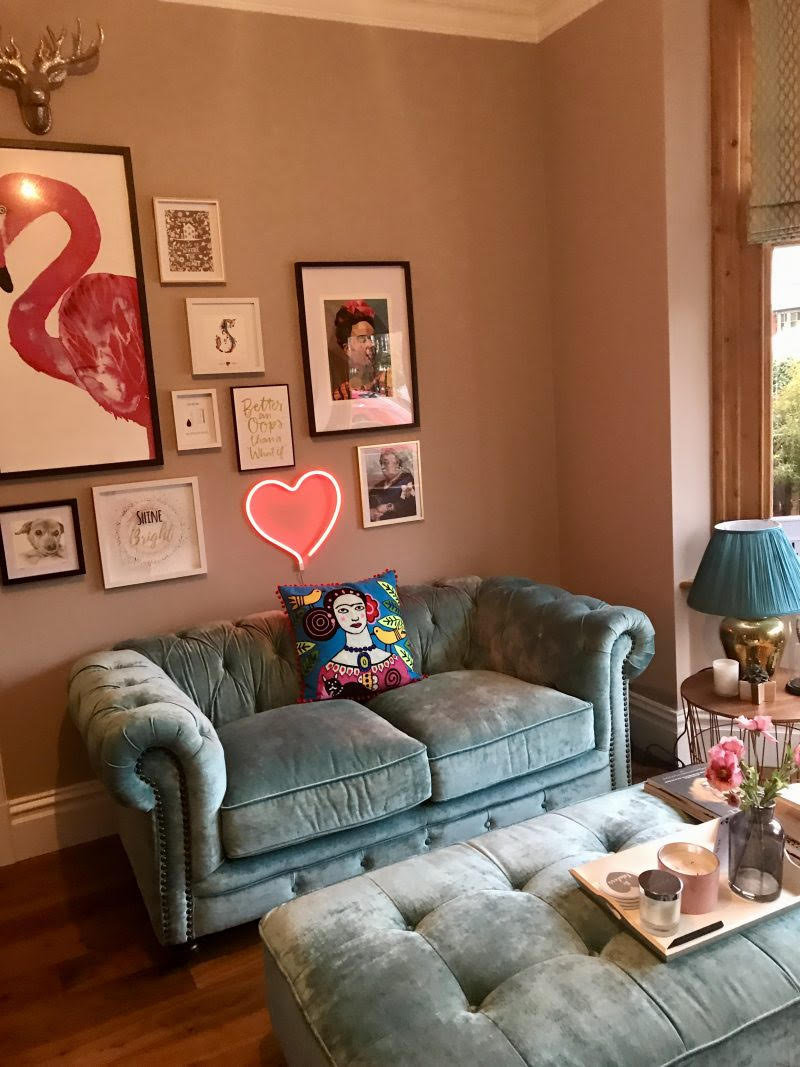 Cool gallery wall using Command Strips by blogger Sharon