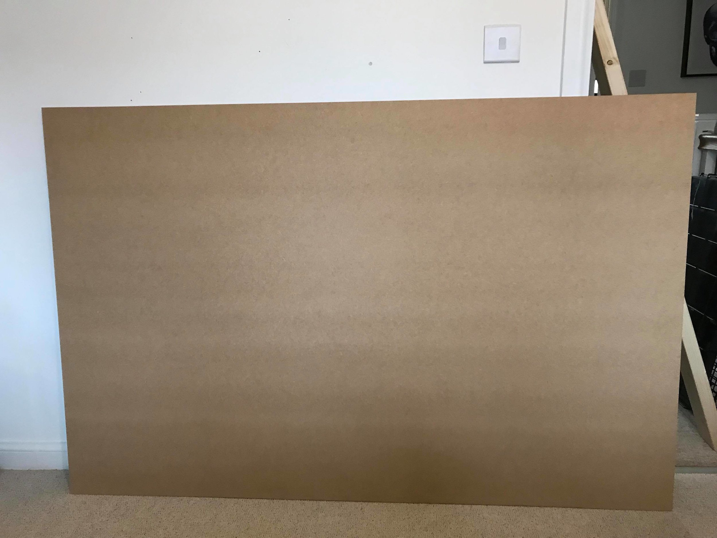 The headboard piece cut to size