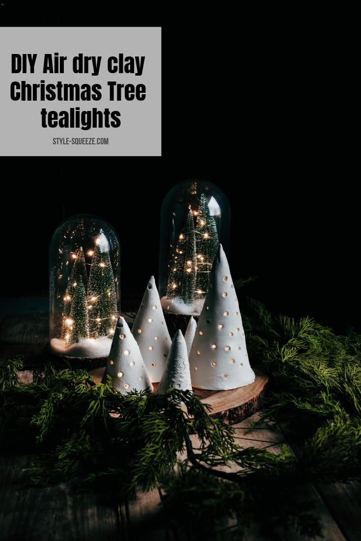 DIY Air dry clay Christmas Tree tealights