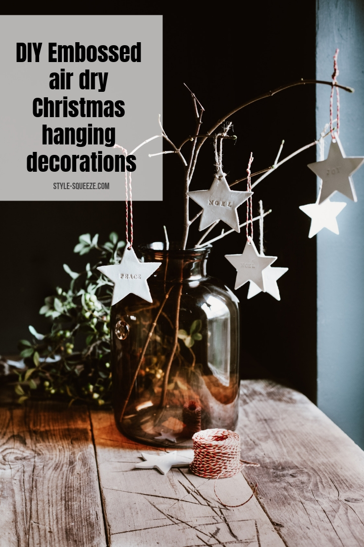 DIY Embossed air dry Christmas hanging decorations