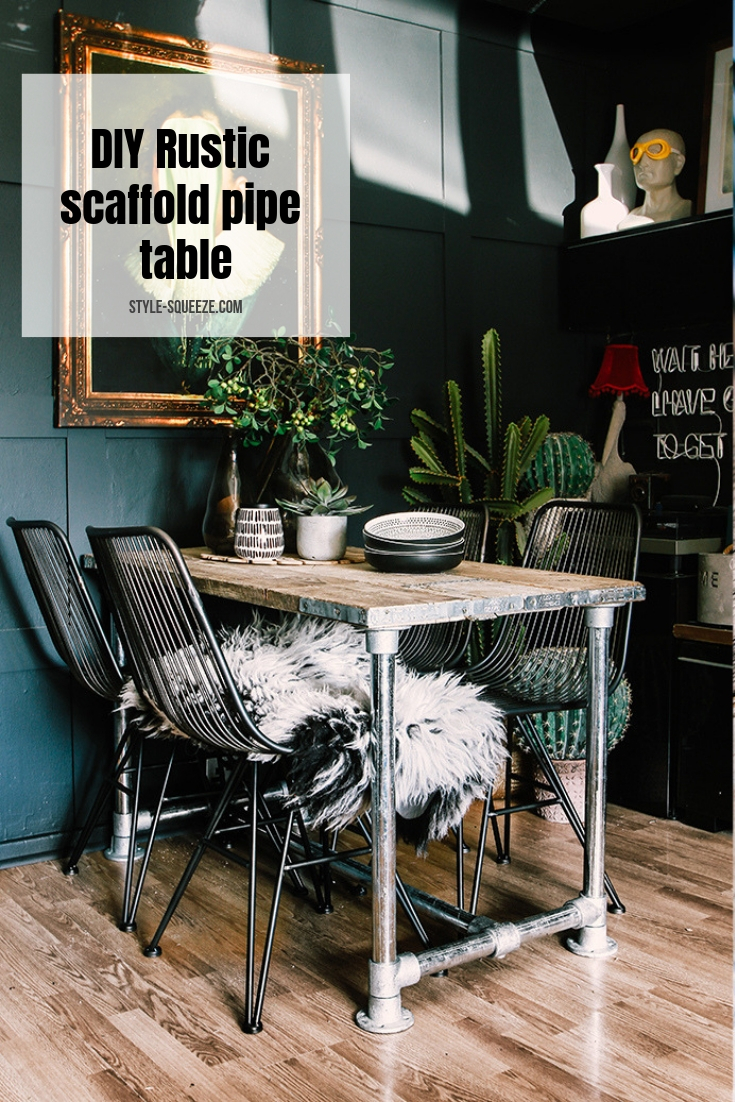 DIY Rustic scaffold pipe table in 3 simple steps