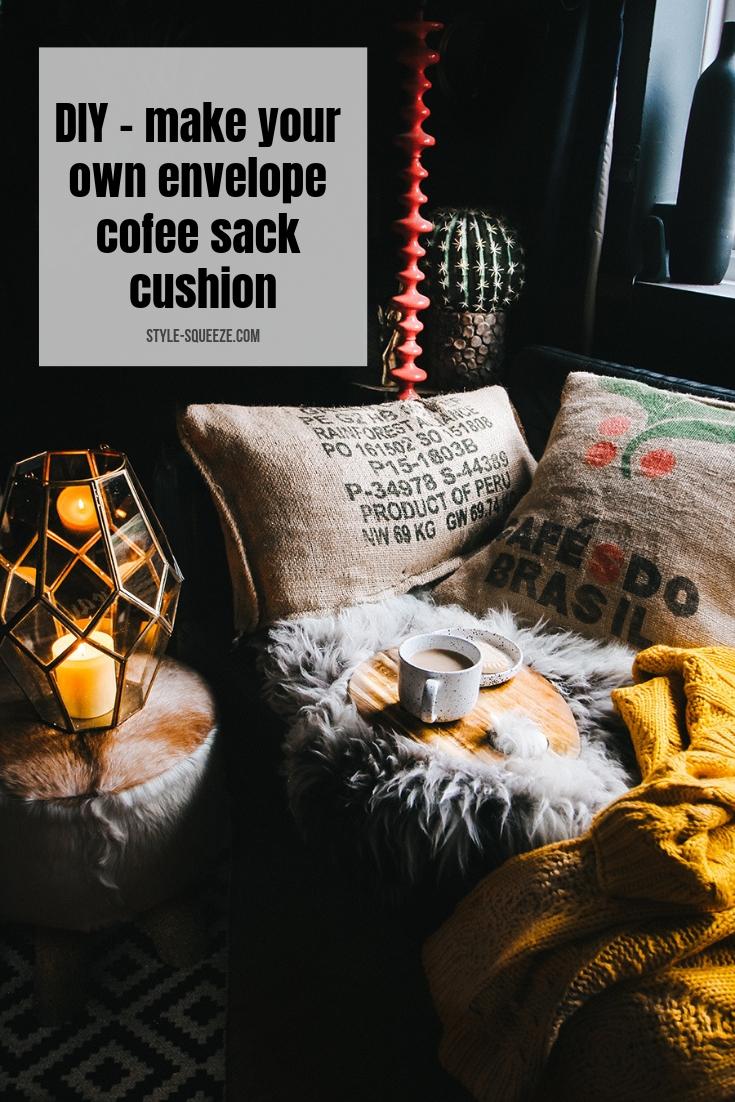 DIY - make your own envelope cofee sack cushion