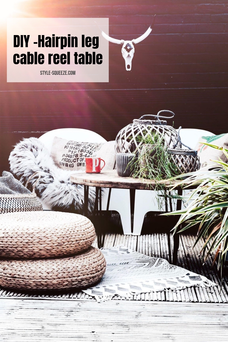 DIY -Hairpin leg cable reel table