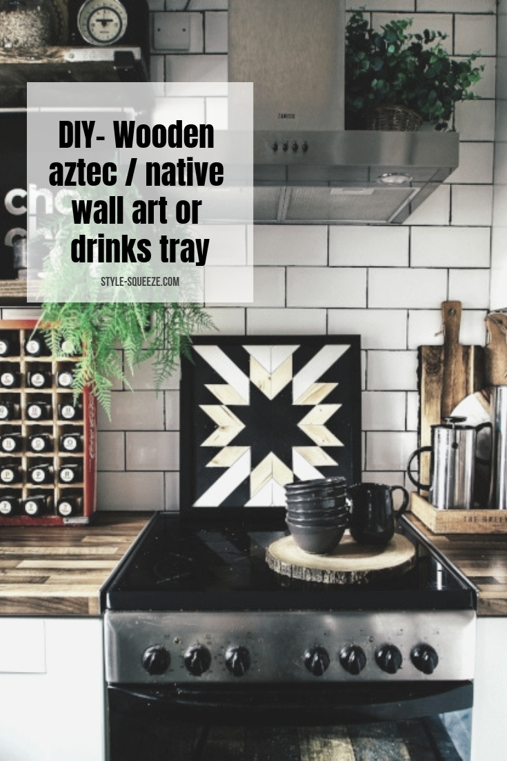 DIY- Wooden aztec / native wall art or drinks tray