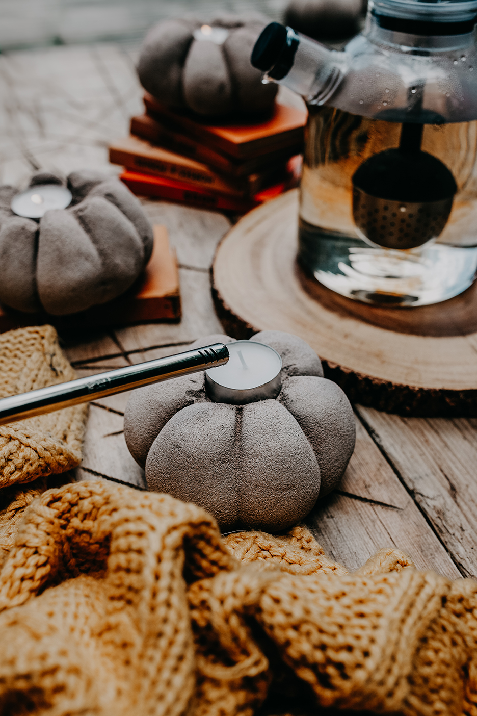Diy Concrete Pumpkin Candle Holders Style Squeeze