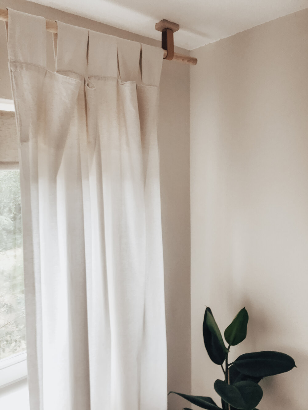 DIY Wooden Curtain Rods / pole with Leather Straps — Style Squeeze