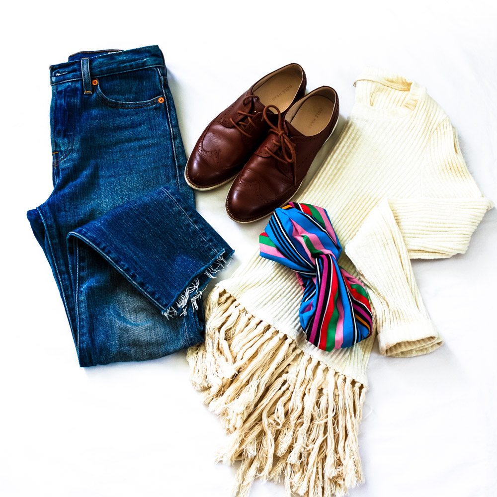 Fringe Top (Anthropologie), Jeans (Levi- Wedgie Fit), Shoes (Cole Haan), Head Scarf (Zara)