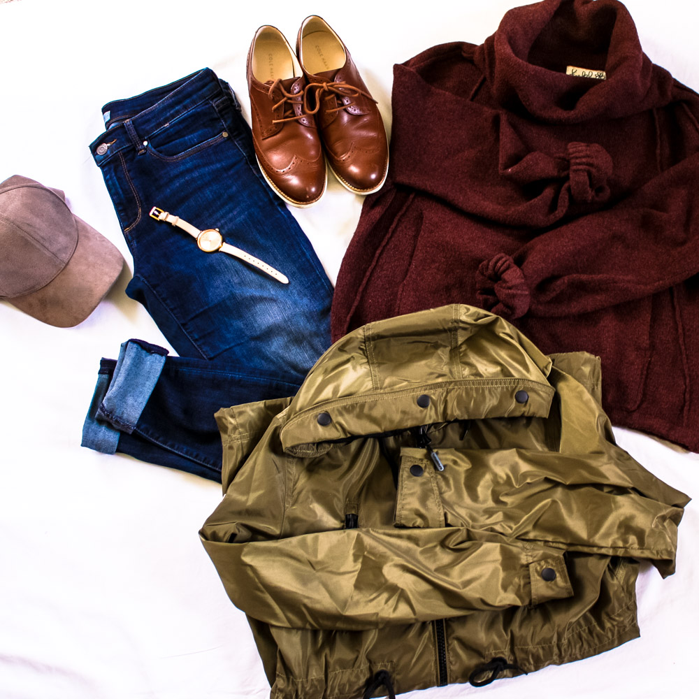 Sweater (Anthropologie), Jeans (Banana Republic), Shoes (Cole Haan), Rain Jacket (Super Dry), Hat (H&M), Watch (Kate Spade)