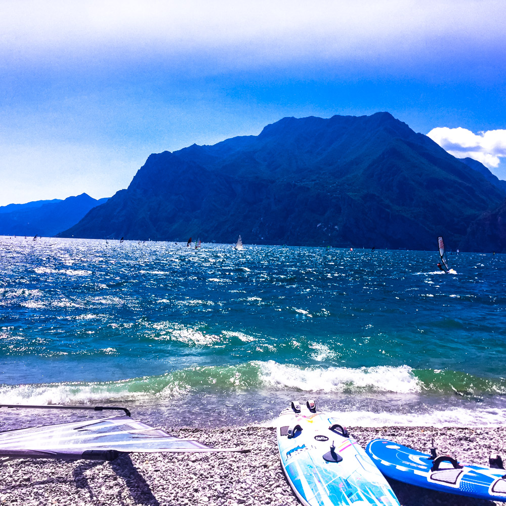 This is in Torbole on Lake Garda. It's known for it's wind surfing. Was super fun to watch everyone out on the lake.