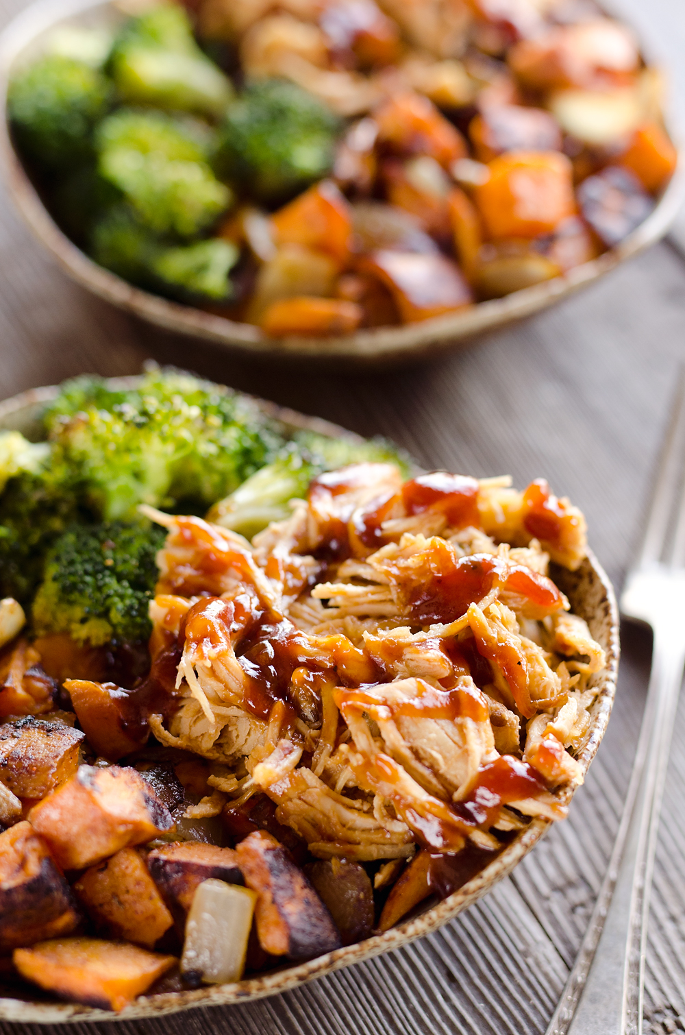 BBQ Chicken, Roasted Sweet Potatoes and Broccoli