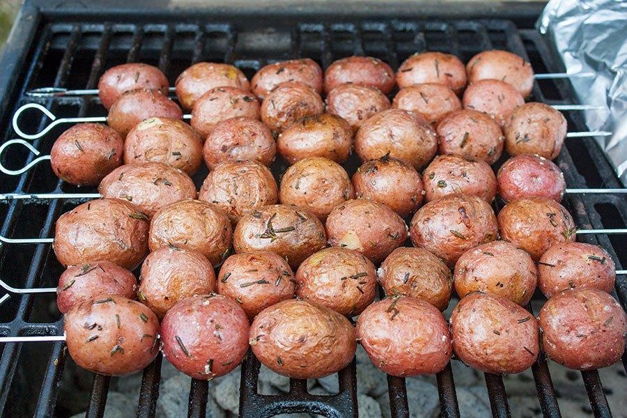 Rosemary Garlic Grilled Baby Potato Skewers