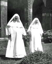 Extern Sisters in white habit. Sr. Cecelia at left and Sr. Mary Immaculata at right.