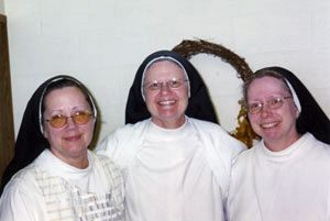 Our Externs today; from left: Sr. Miriam, Sr. Faustina Marie and Sr. Anna Maria .