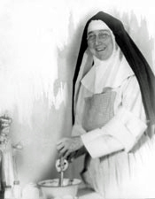 Sr. Mary Anastasia (note the Infant of Prague statue at lower left)