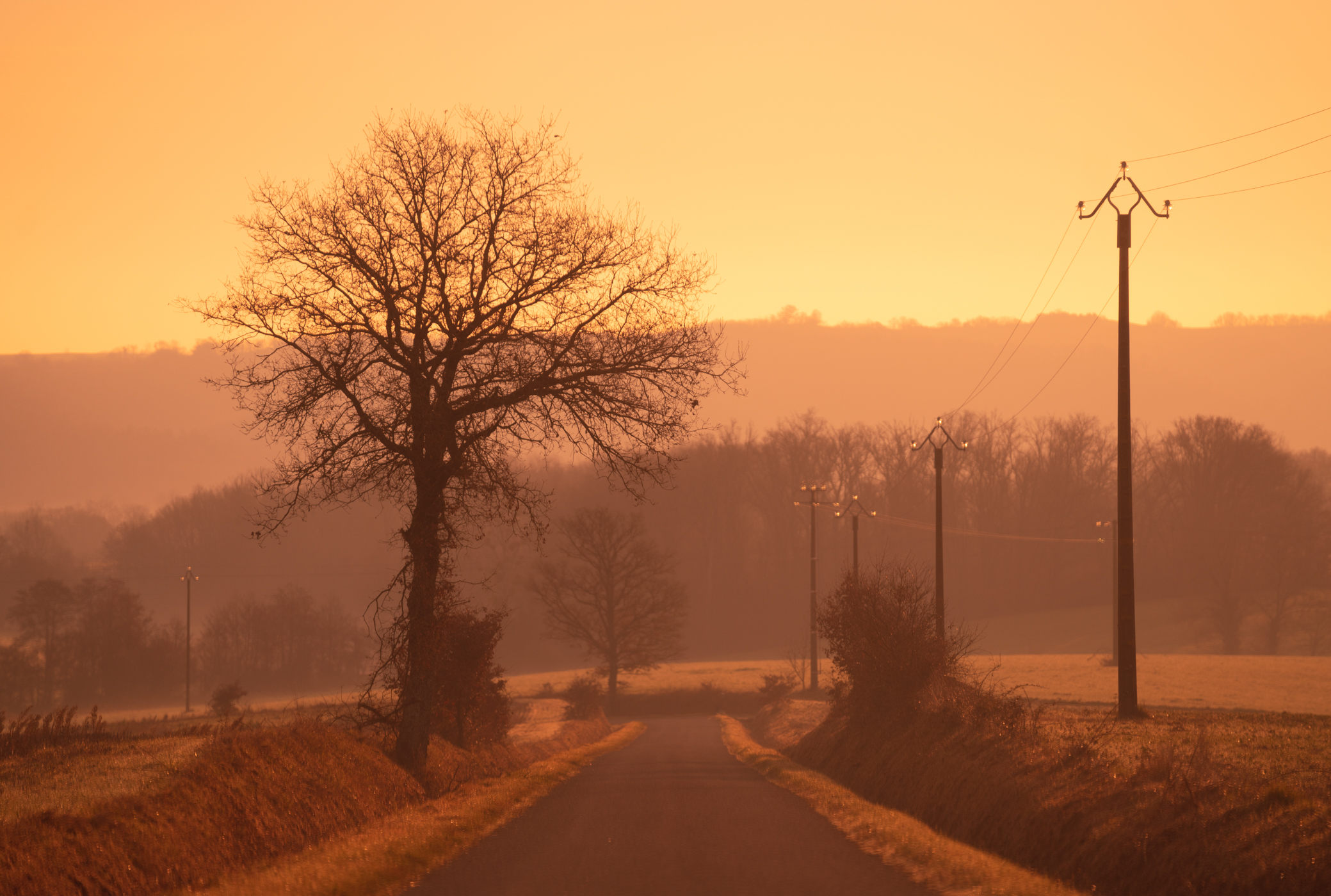 The road to home in our village of St Michel