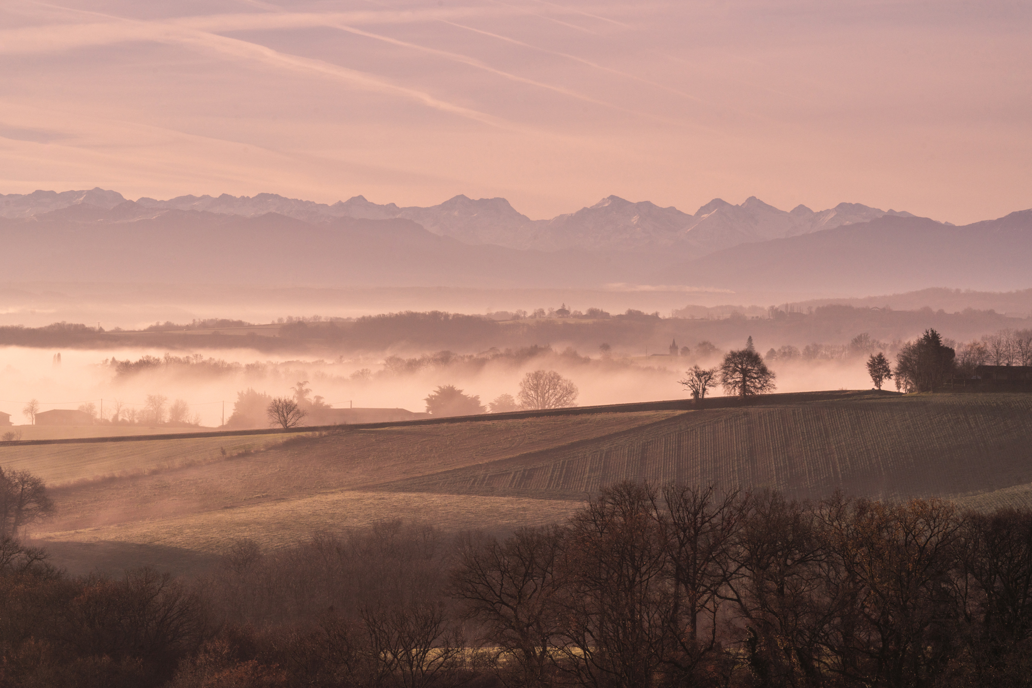 Misty mountains with the pyrenees in the distance