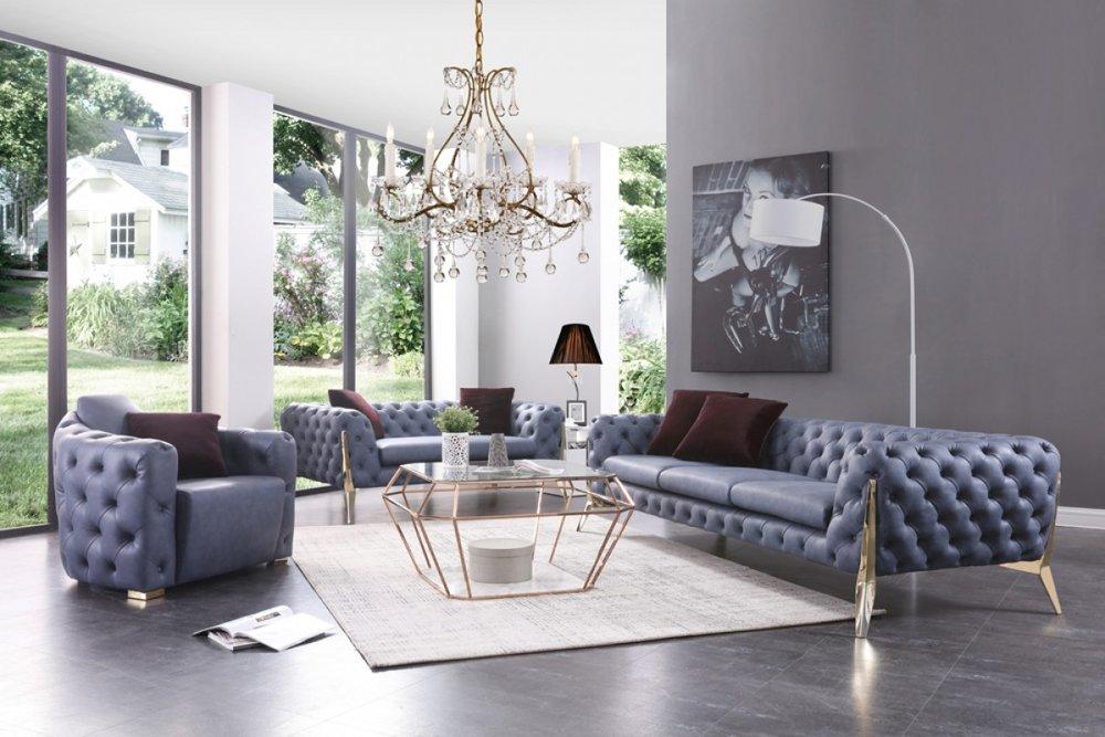 Italian Blue Sofa Set Decodesign, Italian Furniture Miami