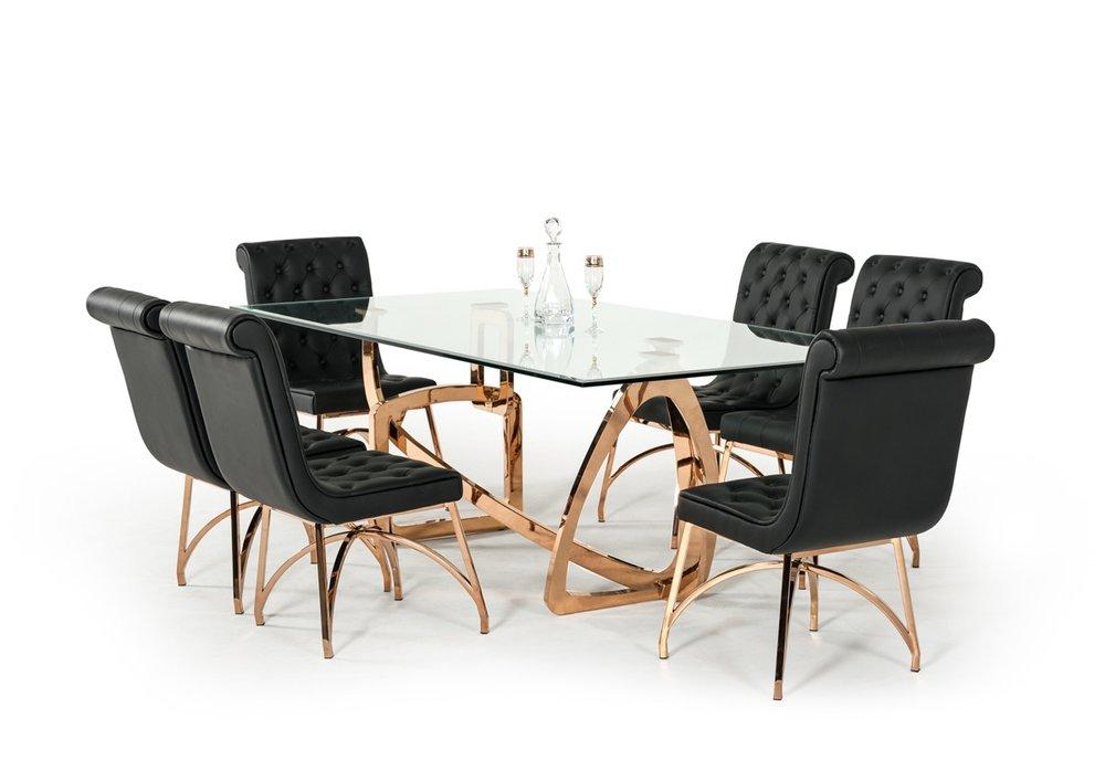 Rose Gold Dining Set Decodesign, Gold Dining Room Sets
