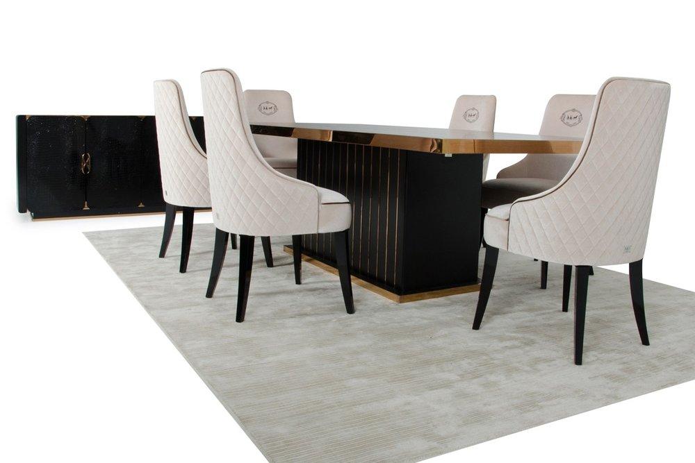 A X Talin Modern Black Crocodile And, Modern Dining Room Furniture Miami