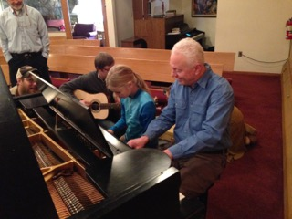 Chris Gillis jammin' after church on his father Frank's restored piano!