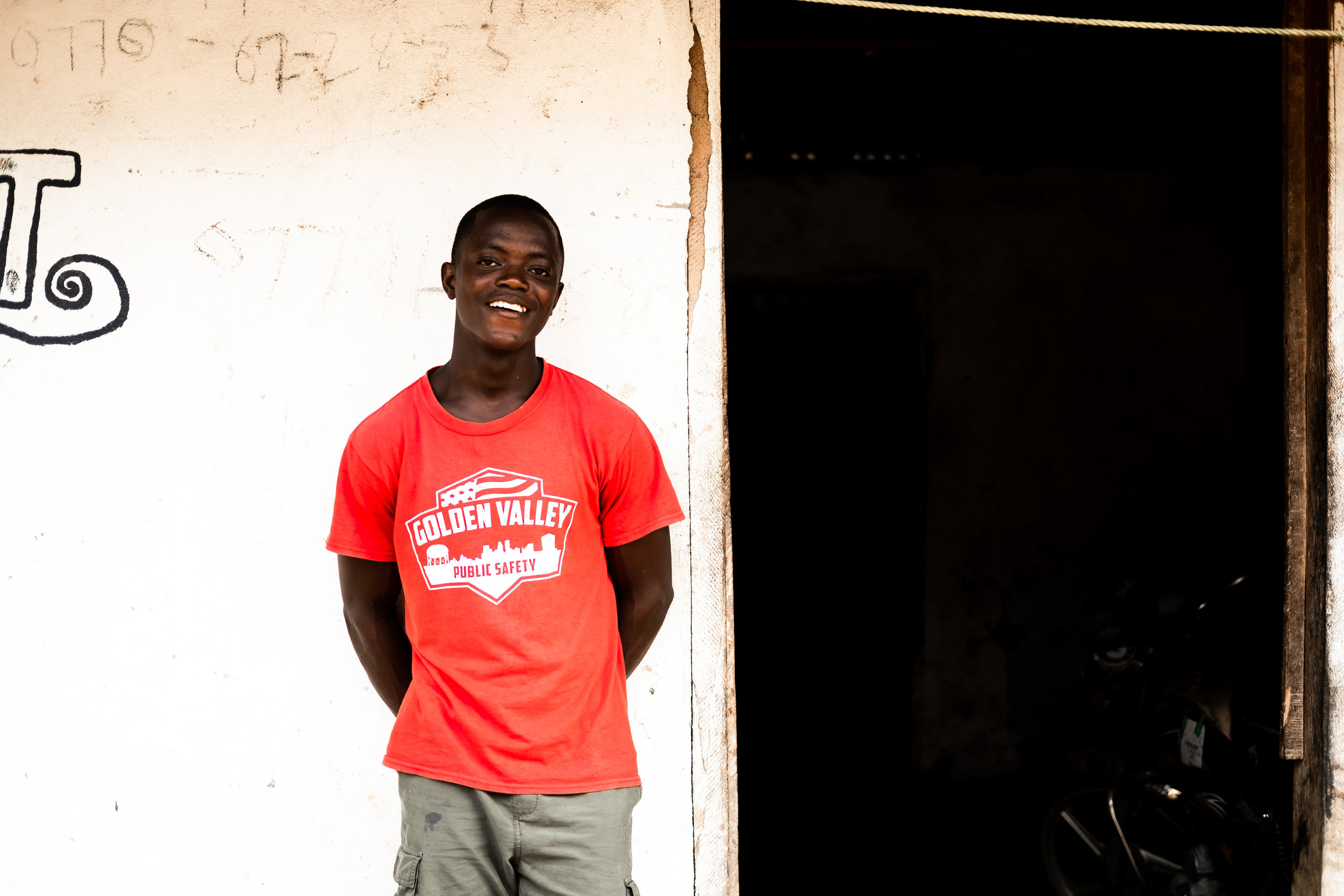 Romeo - Romeo came to the home in the wake of the Ebola crisis and is one of the quieter boys. But he is no less friendly! He has a bashful smile that he tries in vain to restrain.