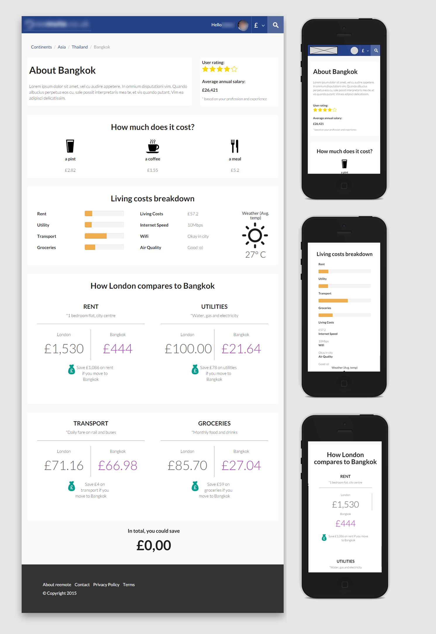 initial city page design screens -