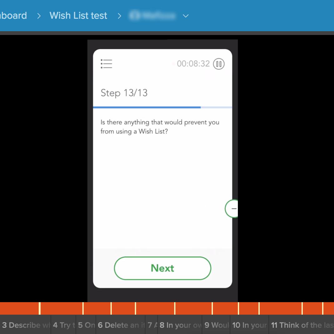 remote user testing screenshot
