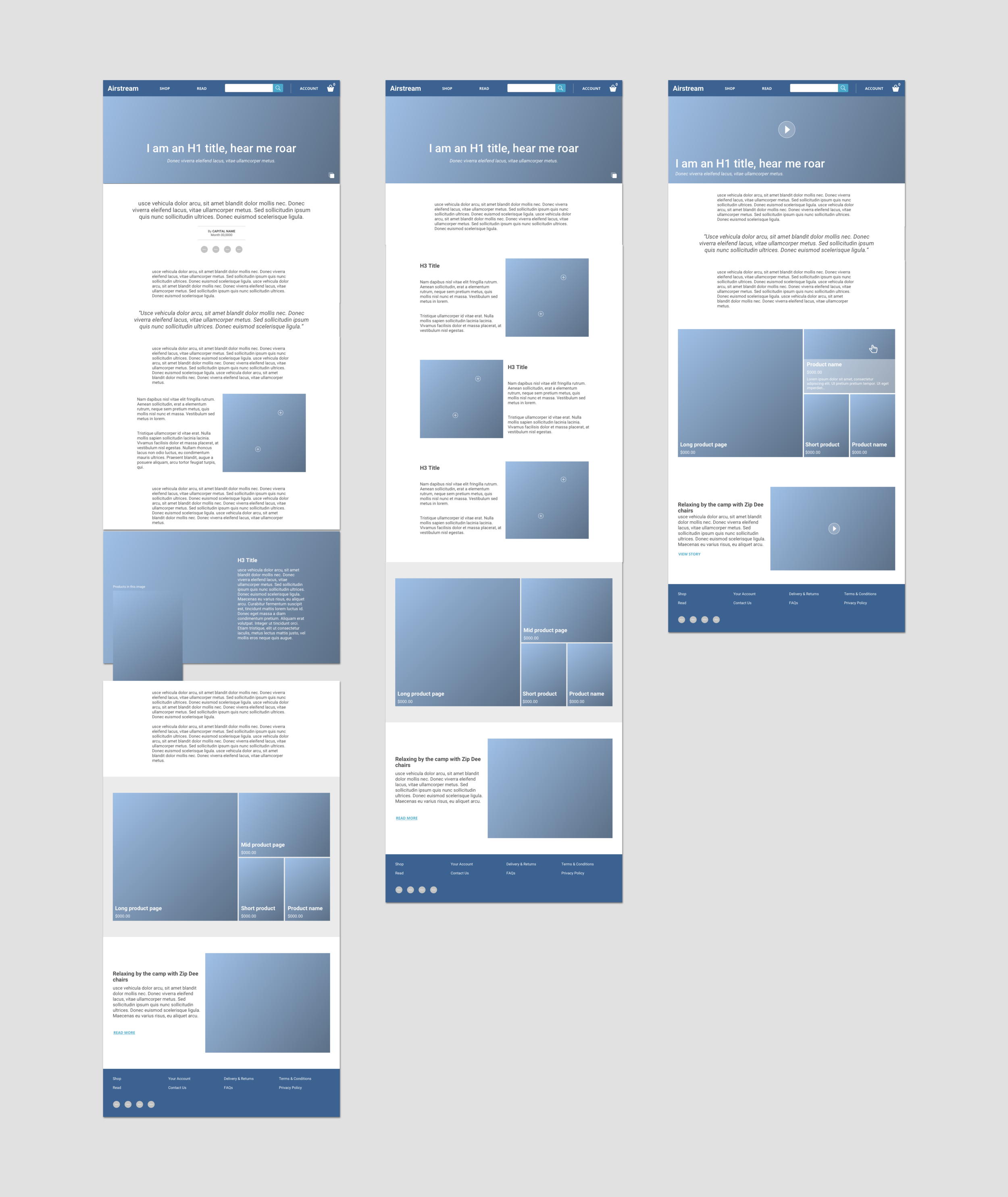 Article page wireframes -